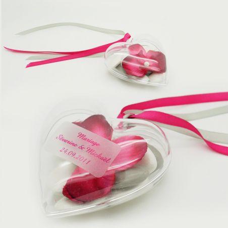 Coeur à dragées plastique transparent