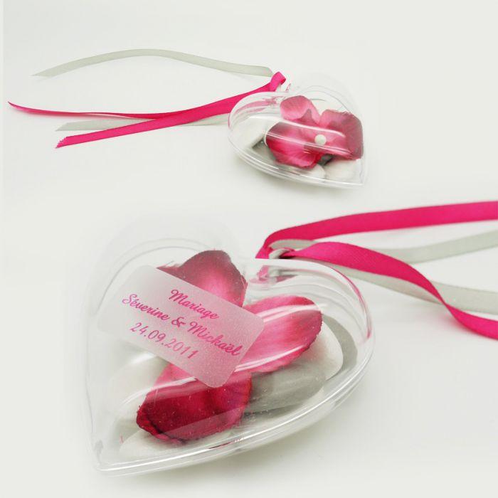 coeur drages plastique transparent - Contenant Drages Mariage Coeur