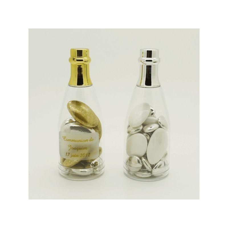 Dragées communion - Mini bouteille champagne dragees Or ou Argent