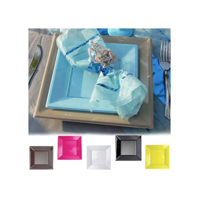 assiette plastique carr gm pour communion bapt me mariage le lot de 12. Black Bedroom Furniture Sets. Home Design Ideas