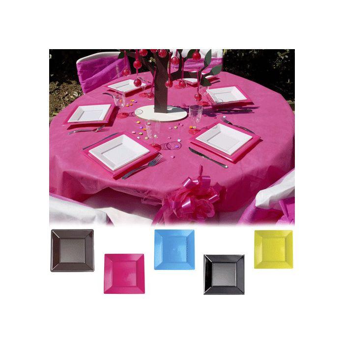 assiette plastique carr pm pour votre communion bapt me mariage le lot de 12. Black Bedroom Furniture Sets. Home Design Ideas