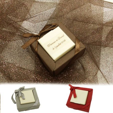 Boîte dragée carton Carré bicolore X12