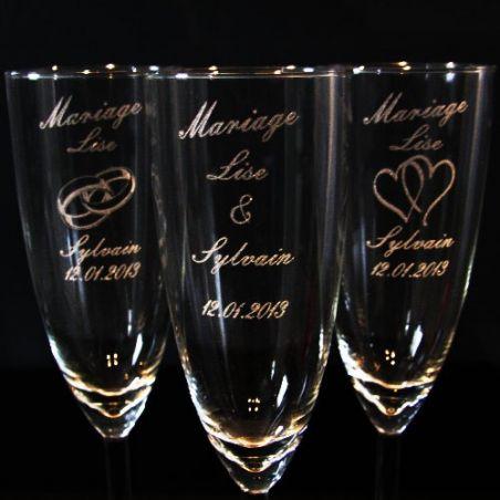 """Flûte gravée mariage """"Personnalisée"""""""