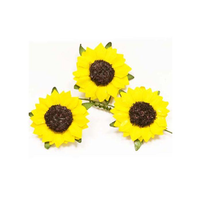 Lot de 12 mini tournesol accessoire floral pour votre for Accessoire pour decoration