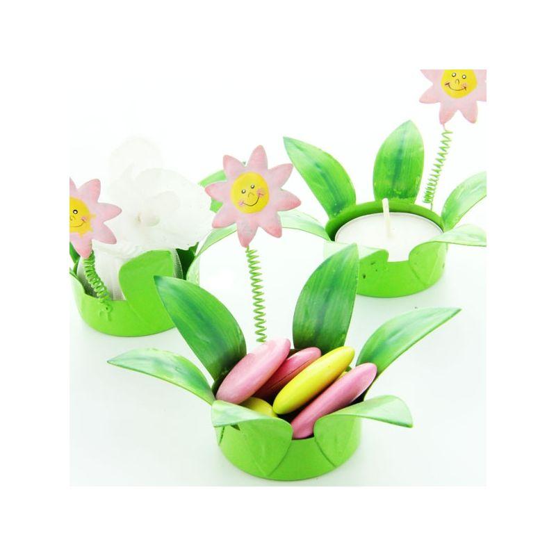 Bougeoire dragées fleurs métal
