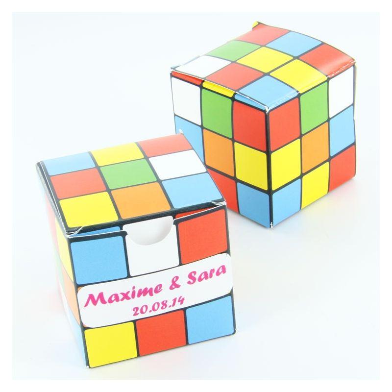Boîte dragée cube couleur X10