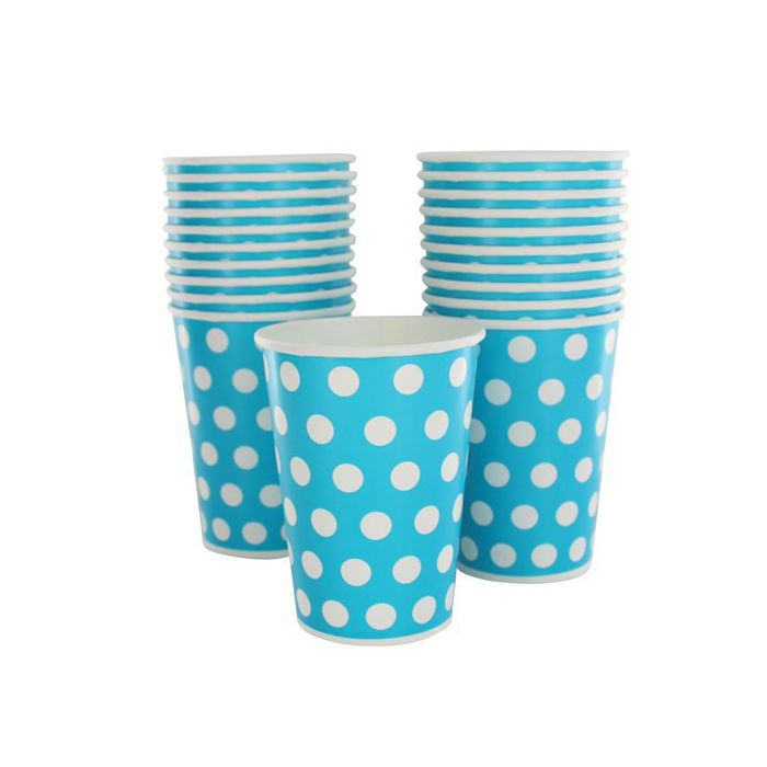 gobelet jetable pois turquoise lot de 10 gobelets en carton pas cher. Black Bedroom Furniture Sets. Home Design Ideas