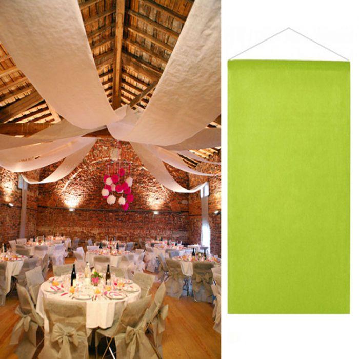 Tenture vert anis salle mariage 12 mètres décoration de salle