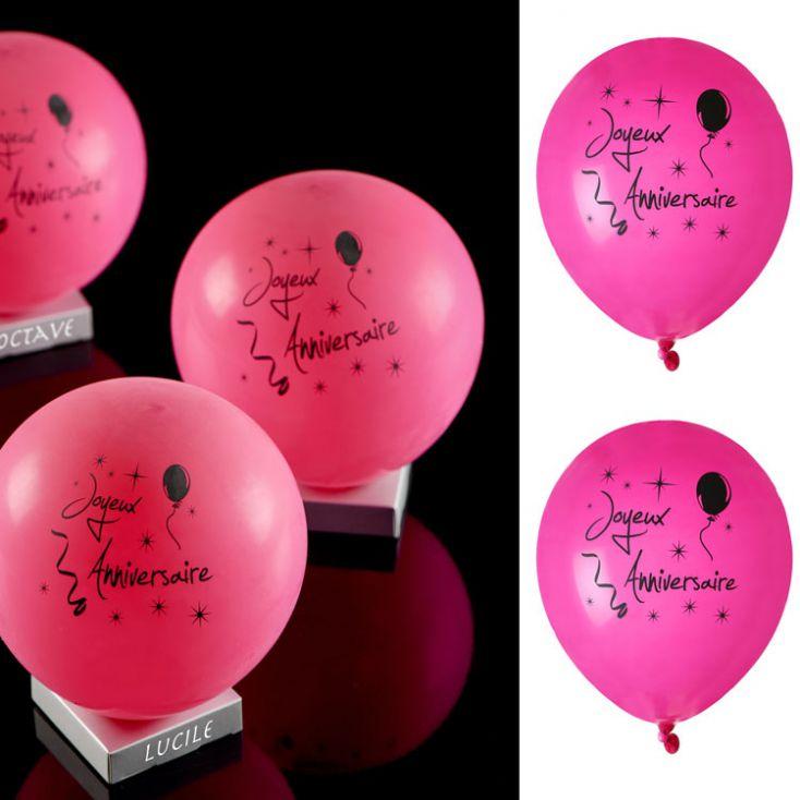 Ballon Joyeux Anniversaire Collection Fushia X8