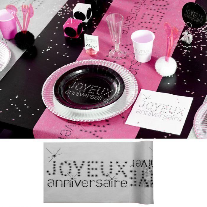 chemin de table anniversaire gris d coration de table. Black Bedroom Furniture Sets. Home Design Ideas