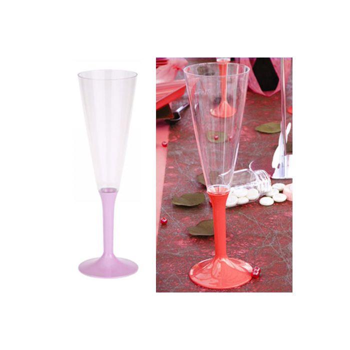 10 fl te champagne plastique vaiselle jetable 13cl couleur rose. Black Bedroom Furniture Sets. Home Design Ideas