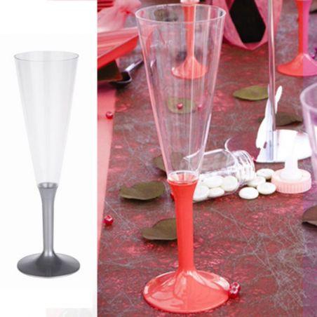 Flûte champagne plastique 13cl (10psc) - Gris