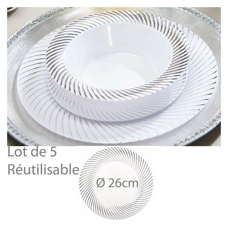 assiette plastique jetable reutilisable lam e bord 26cm les 5. Black Bedroom Furniture Sets. Home Design Ideas