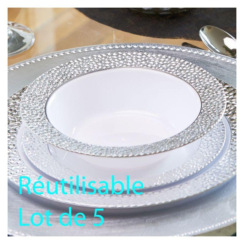 Assiette Creuse Plastique Jetable, Bol Reutilisable Prestige Les 5