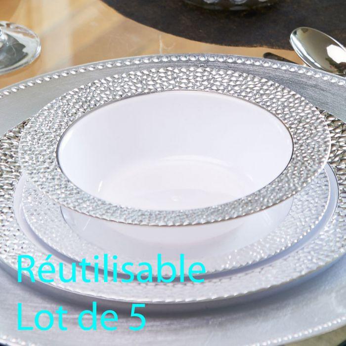 assiette creuse plastique jetable bol reutilisable prestige les 5