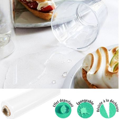 Rouleau nappe blanche effet tissu SPUNDBOND pas cher