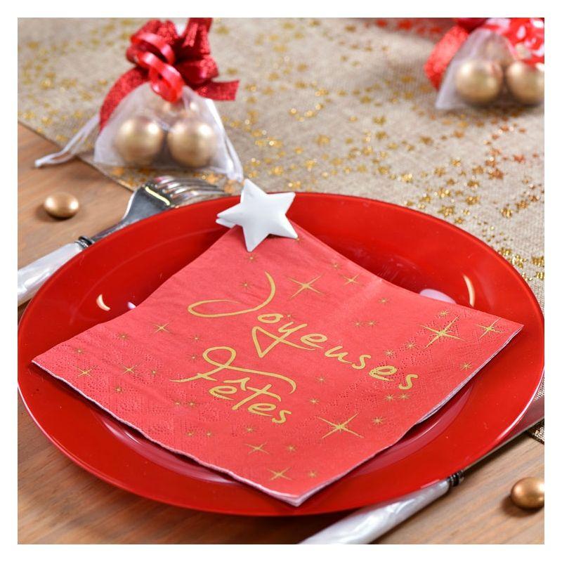 Serviette de table jetable Joyeux fêtes Noir (20 pièces)