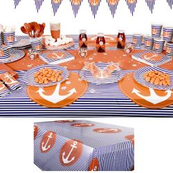 Nappe jetable plastique table enfant - Marin