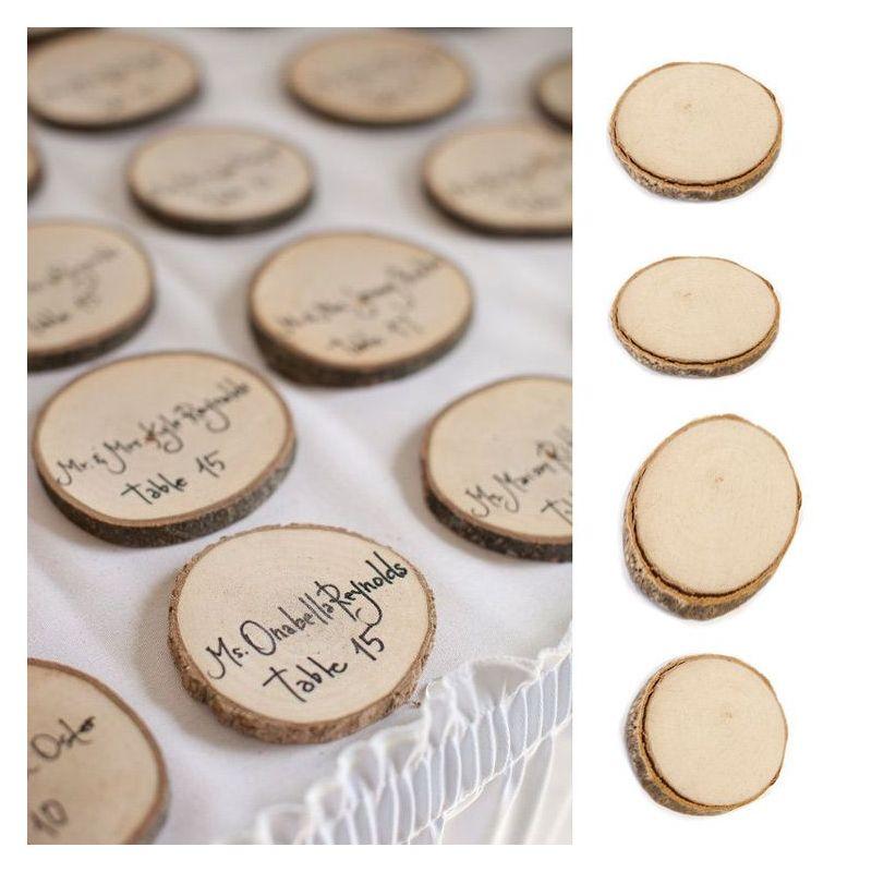 rondin disque de bois marque place les 4 d coration table mariage. Black Bedroom Furniture Sets. Home Design Ideas