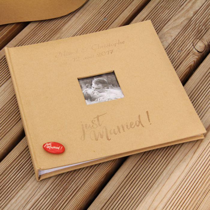livre d 39 or personnalis mariage bapteme en kraft album photo mariage. Black Bedroom Furniture Sets. Home Design Ideas