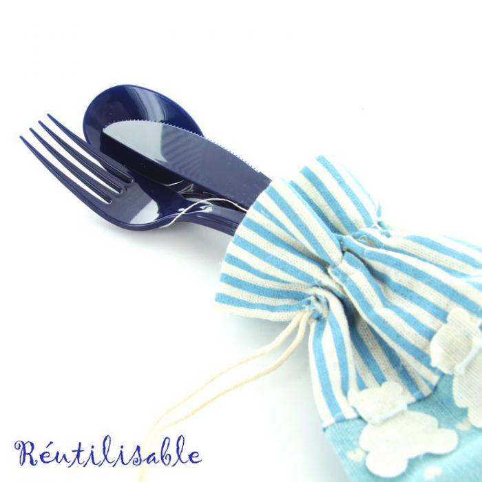 Couvert jetable m nag re de table jetable bleu marine 30 - Menagere de table ...