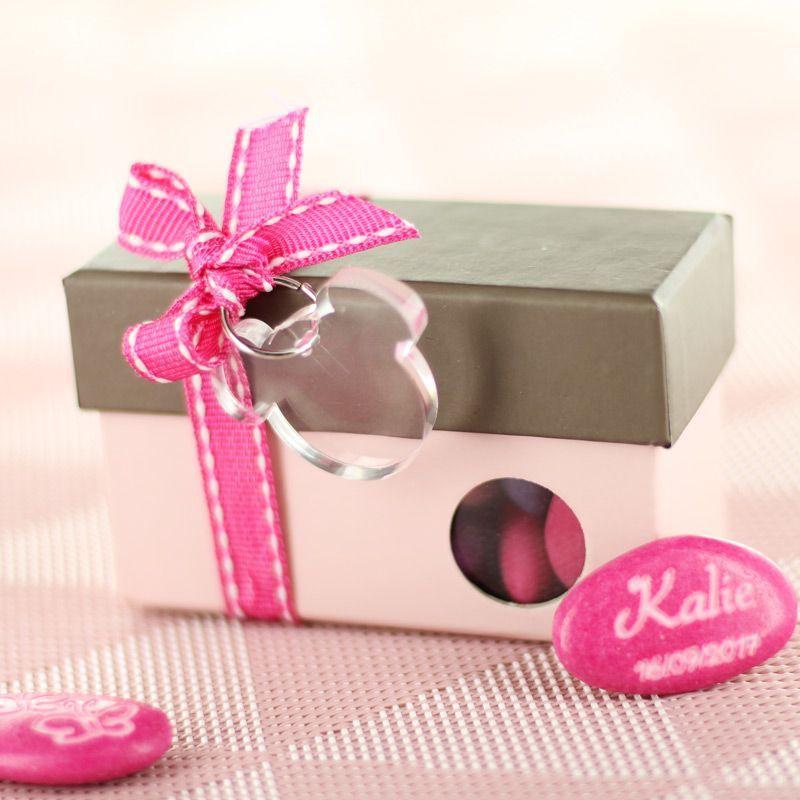 Boîte dragée carton à fenêtre hublot - Rose