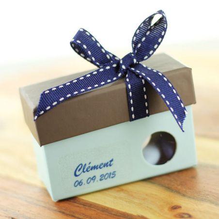 Boîte dragée à fenêtre hublot - Bleu