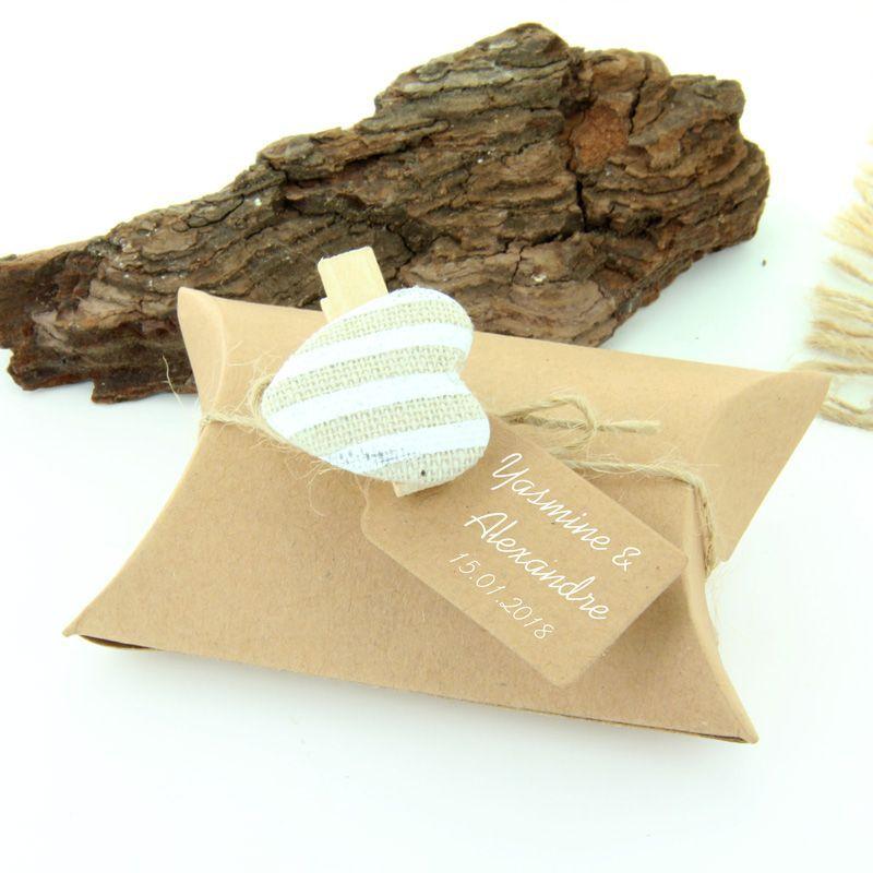 10 Boite dragées berlingot Kraft étiquette + ruban