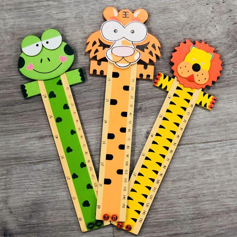 Cadeaux enfants - Règle bois animaux (lot de 12)