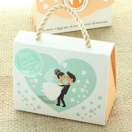(10) Boite bonbon mariage - Sac carton H8.5 x11cm