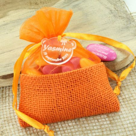Bourse dragées en JUTE Orange - (12pcs)