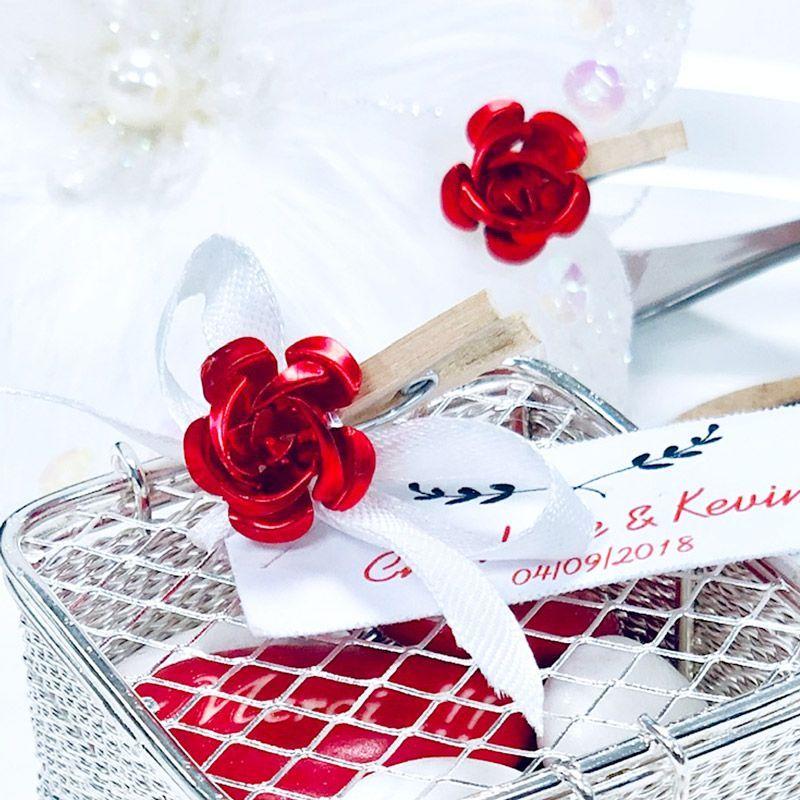Bouton de rose métal sur pince (lot de 24)