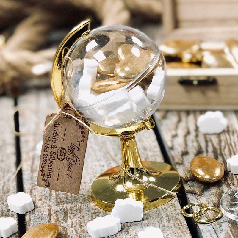 Boite dragées Globe Terrestre Or (lot de 12)