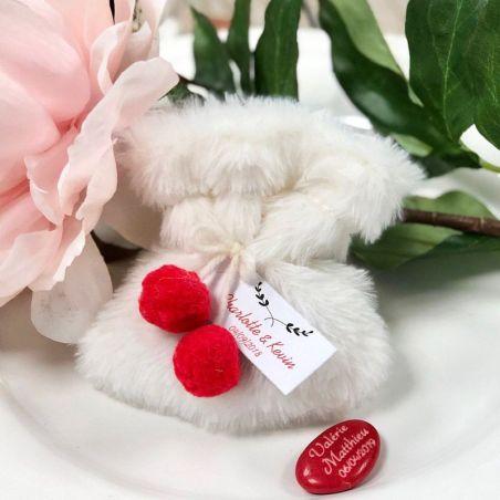 Sachet dragées en fourrure - Blanc