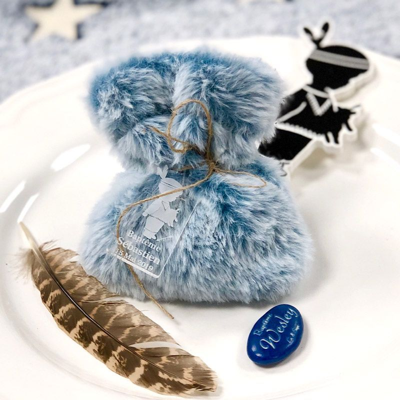 Sachet dragées en fourrure - Bleu