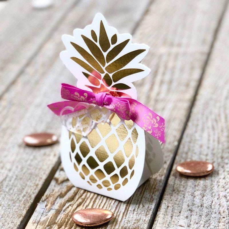 Boîte dragée carton Ananas lot de 10