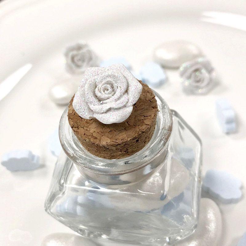 Mini Rose pailletée autocollante (lot de 12)