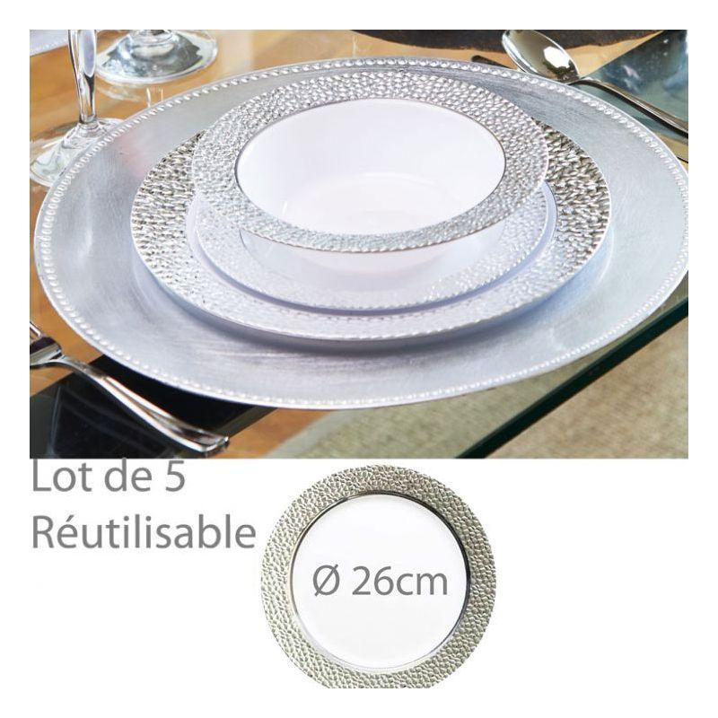 Assiette reutilisable argentée Prestige 26cm (lot de 5)