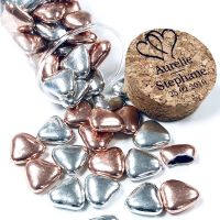 Mini coeur chocolat mélange Rose gold et Argent