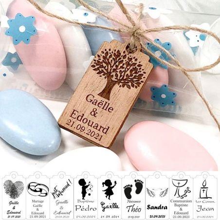 Étiquette bois Mini personnalisée
