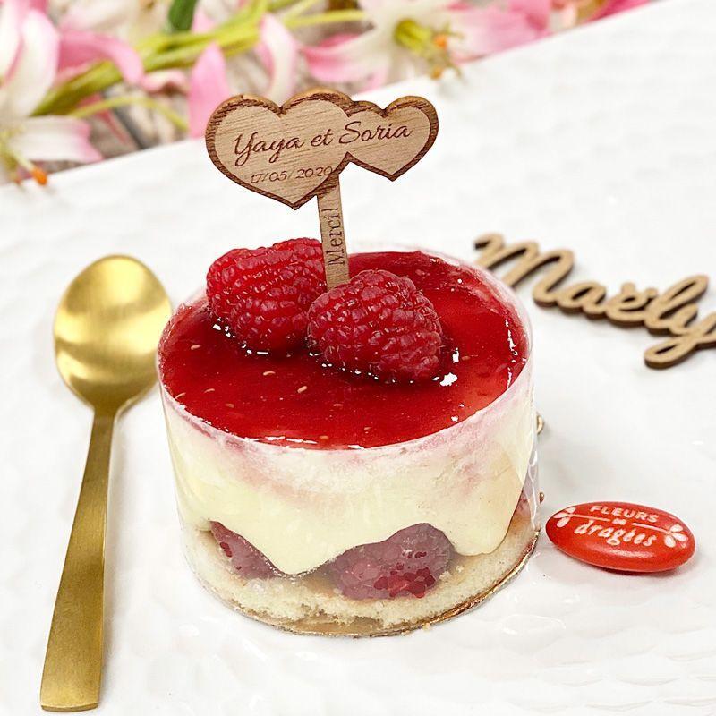 Étiquette bois Pic gâteau mariage Personnalisé - Cœur