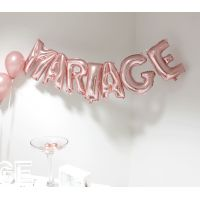 Ballons lettres MARIAGE rose gold