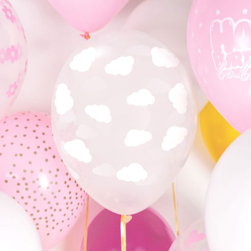 Ballons transparent nuage blanc x6