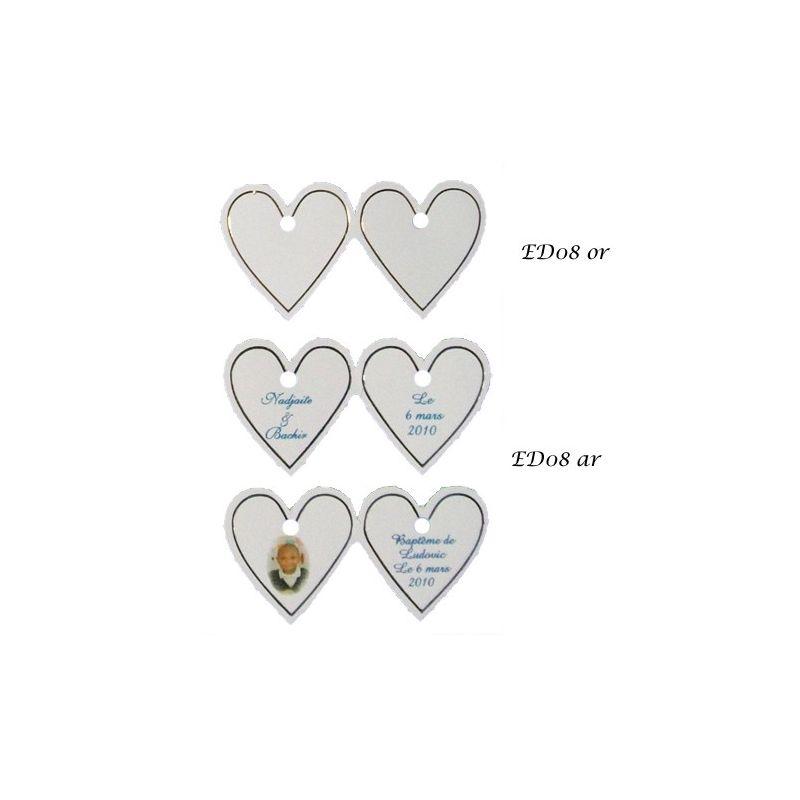 Etiquettes à dragées coeur X20 ED08